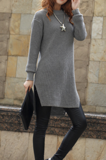 Scoop Ribbed Knit Solid Split Asymmetric Sweater