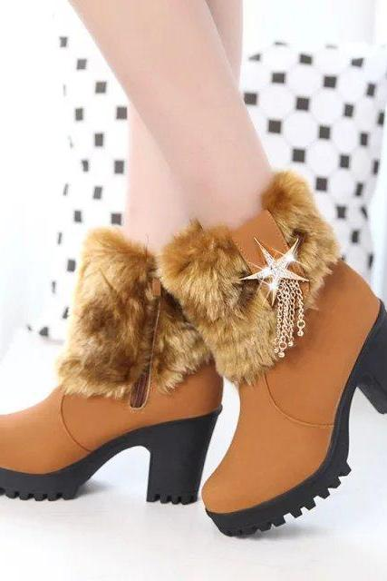 Casual Warm Zipper Star Tassels Wool Boots