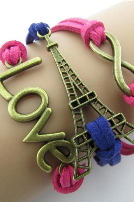 LOVE Eiffel Tower Multielement Color Fashion Bracelets