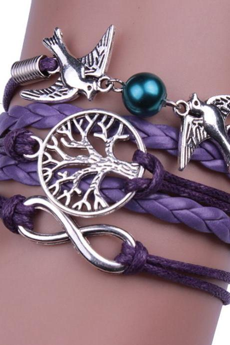 Purple Dove Tree Of Life Bracelet