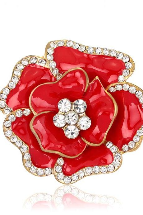 Beautiful Crystal Rose Flower Brooch