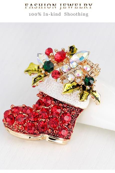 Upscale Christmas boots Brooch