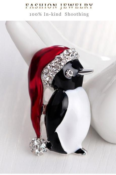 Cute Little Penguin Christmas Brooch