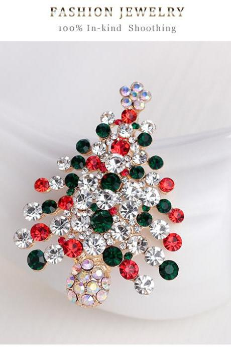 KC gold full diamond grade Christmas tree Brooch