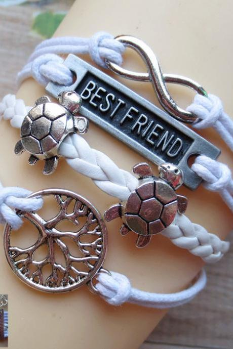 Tree Of Life BESTFRIEND Tortoise Leather Cord Bracelet