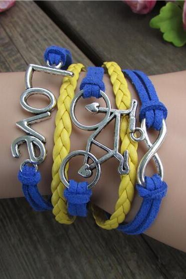 LOVE Bicicyle Fashion Multielement Colored Bracelet