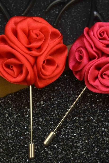 Handmade cloth fashion men rose collar Brooch