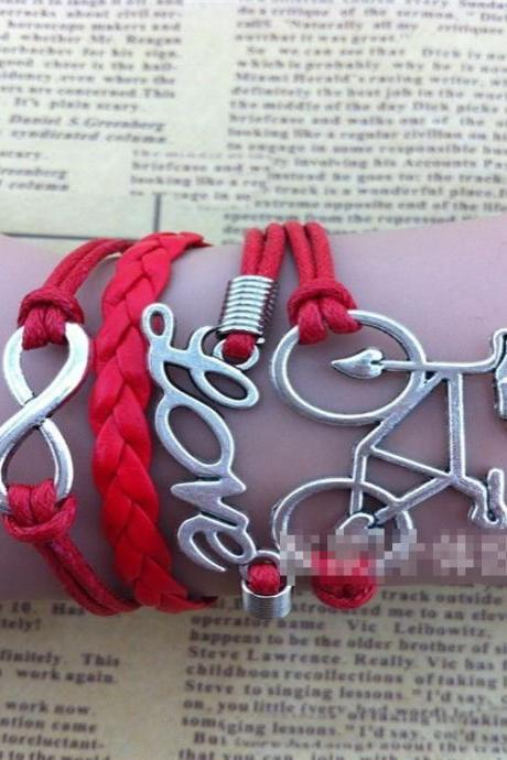 Chic Bicycle Love Multilayer Woven Bracelet