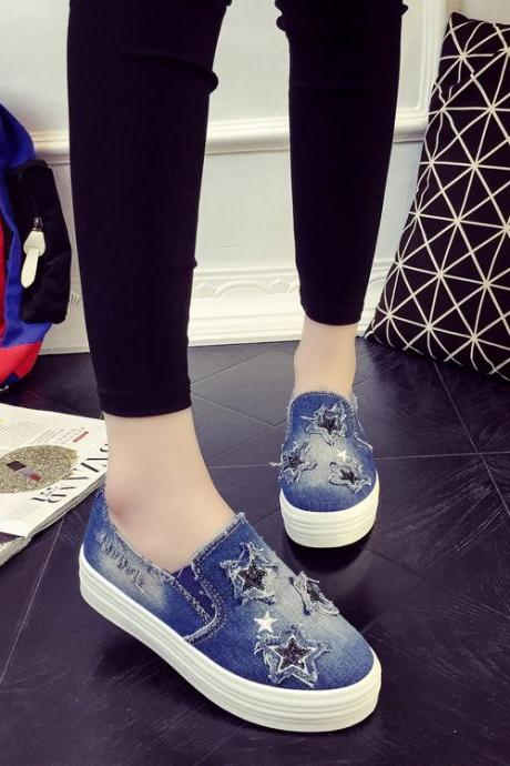 Casual Denim Canvas Flat Star Sneakers