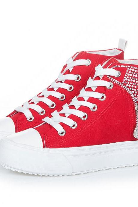 Crystal Zipper Decorate High Top Sneakers