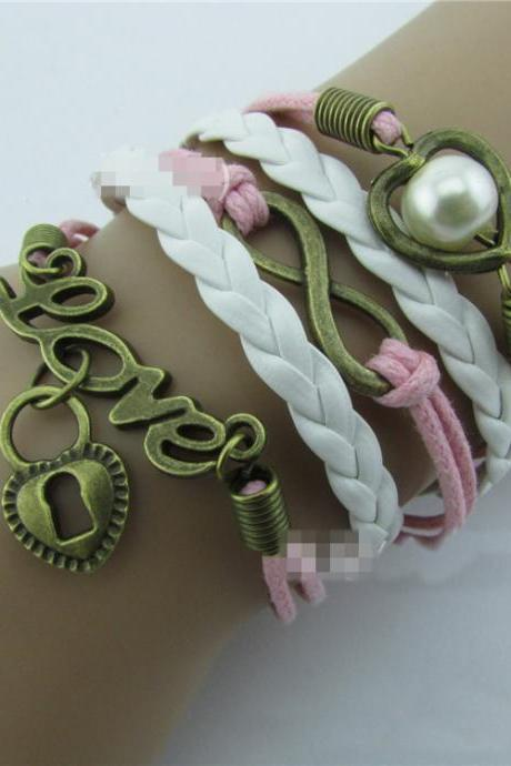 Romantic Pink Love Heart Lock Woven Bracelet