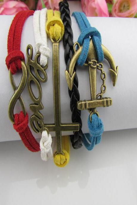Anchor LOVE DIY Wax String Woven Bracelet