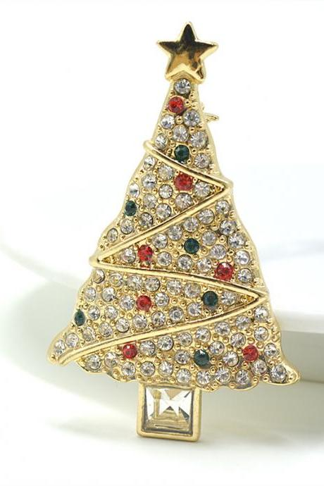 Fashion personality full diamond alloy Christmas tree Brooch