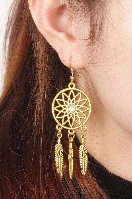 Retro Hollow Out Lotus Feathers Tassel Earrings