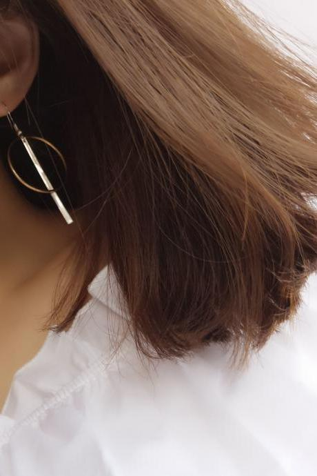 Copper Geometry Strip Circle Tassel Earrings