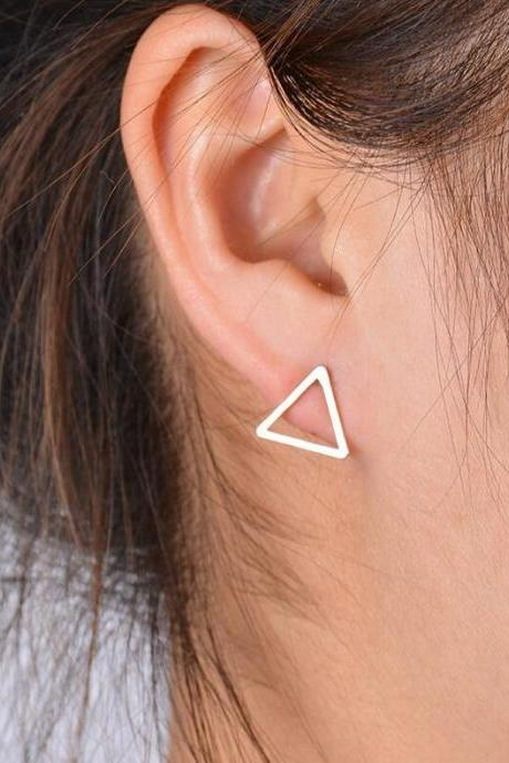Triangle Geometric Stud Earrings in Gold, Silver or Black, Jewelry