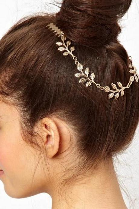 Golden Leaves Dual Hair Comb Hair Accessory