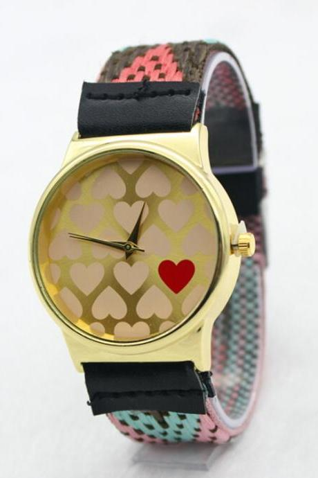 Fashion Heart Print Woven Watch