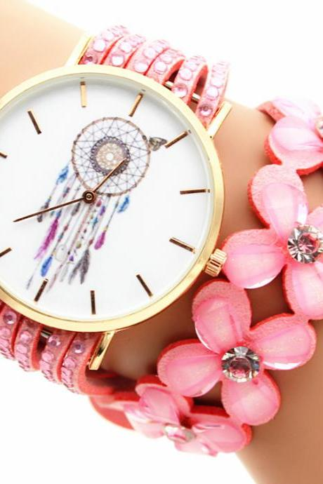 Flower Strap Dreamcatcher Print Watch