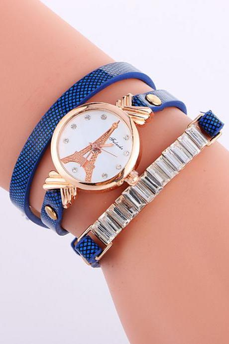 Tower Print Leather Watch