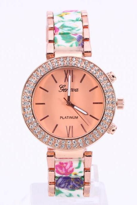 Popular Elastic Floral Strap Watch