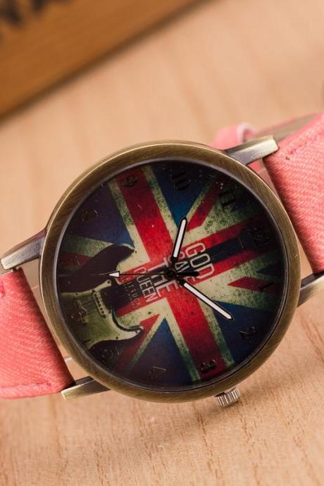 Denim Retro God Save Queen Watch