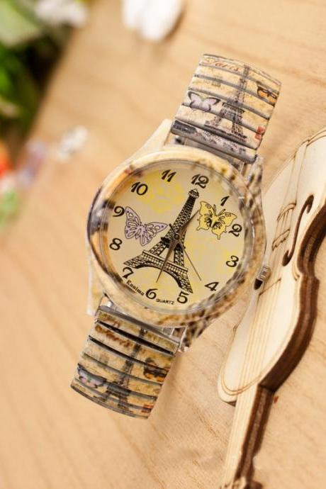 Color Elastic Belt Print Watch