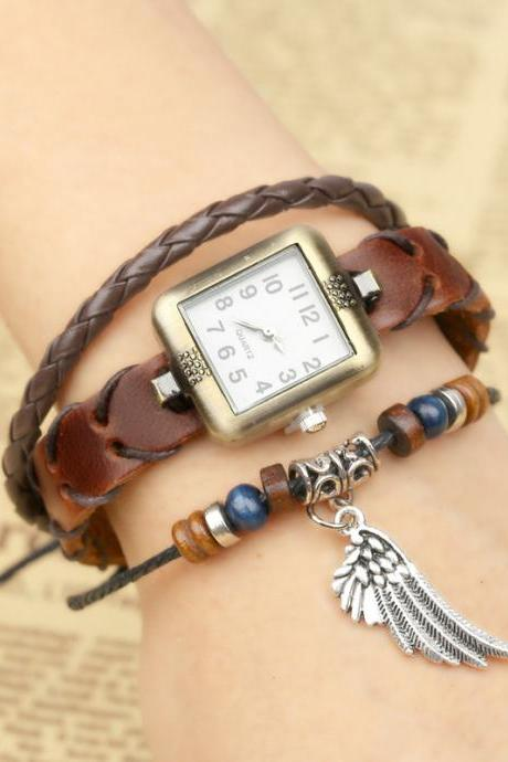 Angel' Wing Square Dial Woven Bracelet Watch