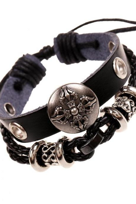 Hollow Beads Carving Flower Leather Bracelet