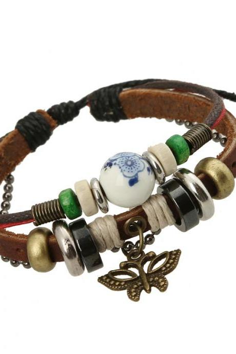 Sweet Butterfly Beaded Leather Bracelet