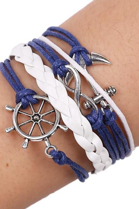 Anchor Rudder Wax Rope Bracelet