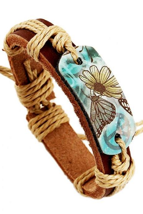 Hot Style Pyrograph Leather Bracelet