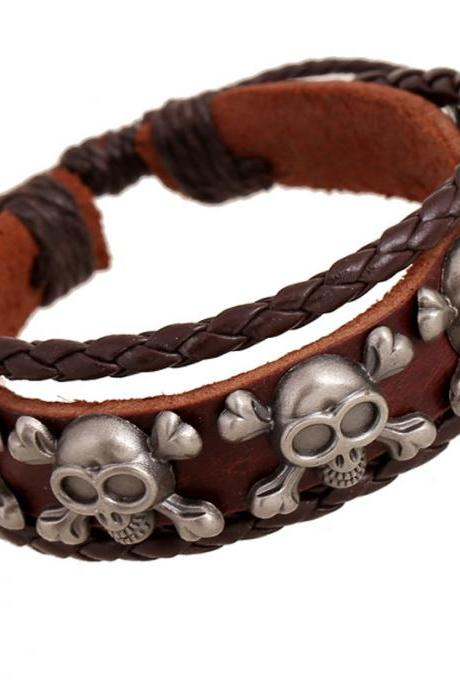 Skull Rivet Multilayer Woven Bracelet