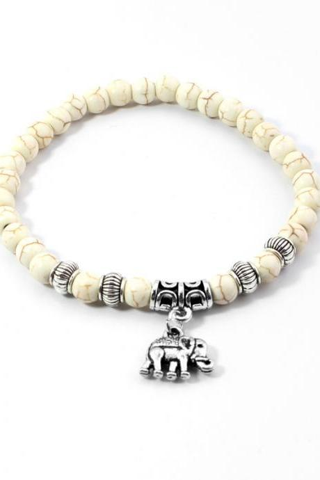 Natural Stone Beads Elephant Yoga Bracelet