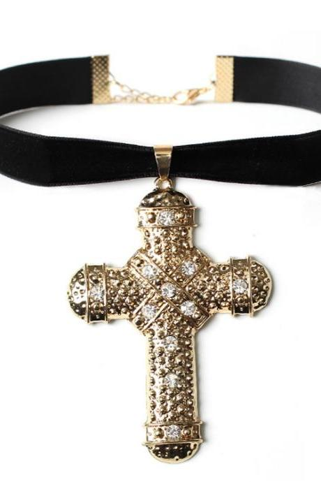 Creative Gothic retro cross Velvet Necklace