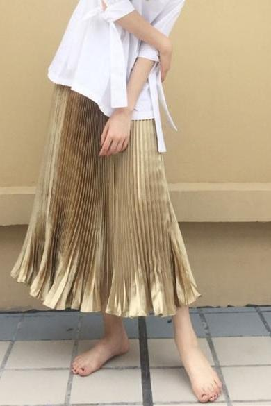 New Women Casual Pleated Solid Mid Length Skirt