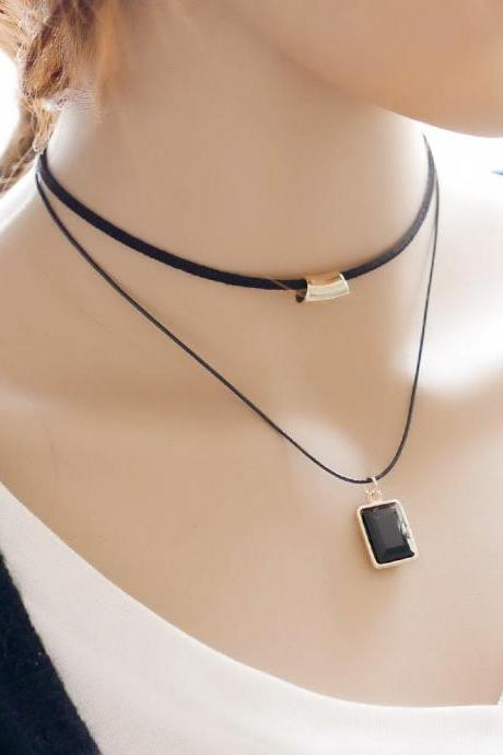 Korean fashion lady double simple necklace