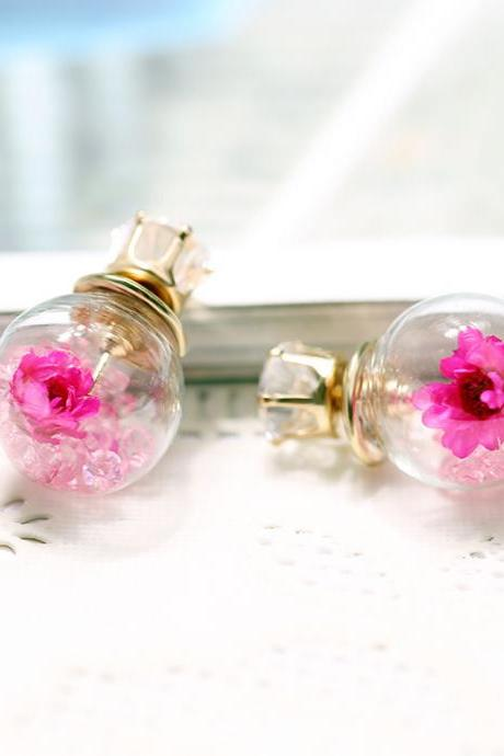Glass Ball Flower Zircon Earring