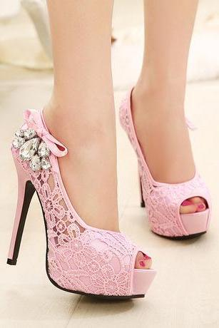 Peep Toe Lace Stiletto Heels with Ribbon and Diamante Details on the Side