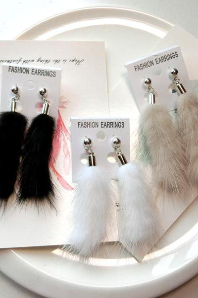 Autumn and winter Mink Fur Ball Earrings