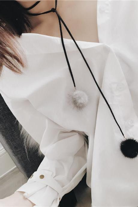 Fashion mink hair long ball simple personality sweater chain
