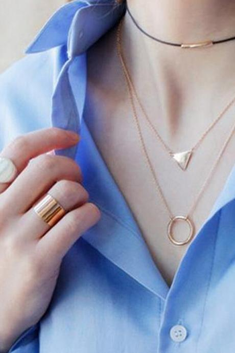 The new Korean simple three layer short triangular ring necklace
