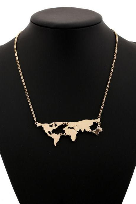 Exaggerated personality world map combination Pendant Necklace