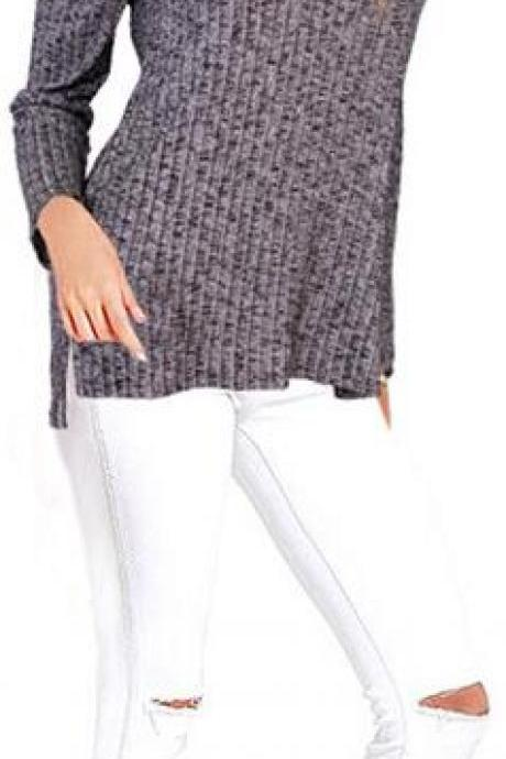 Plus Size Side Slitting Long Sleeves Sweater