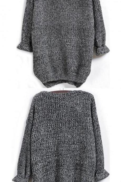 Irregular Long Sleeve Dovetail Sweater