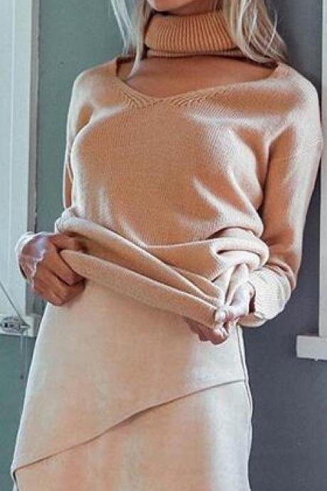 Loose Turtle Neck Hollow Out V Neck Pure Color Sweater