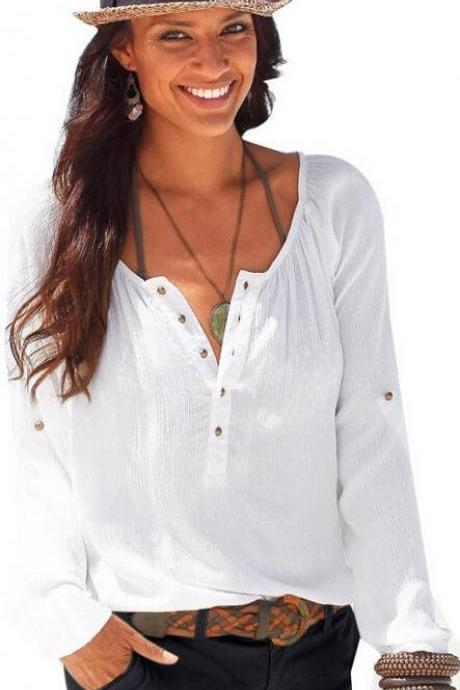 Fashion Long Sleeve V Neck Pure Color Loose Shirt Blouse