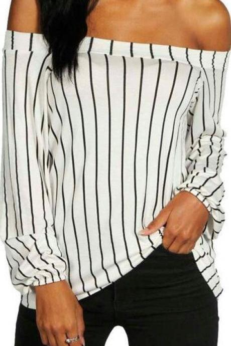Sexy Off Shoulder Long Sleeve Stripe White Blouse