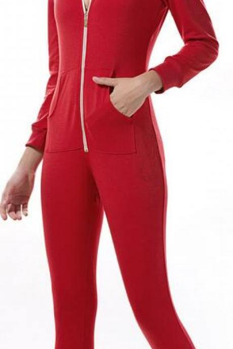 Long Sleeve Front Zipper Double Pockets Hoodie Long Jumpsuit