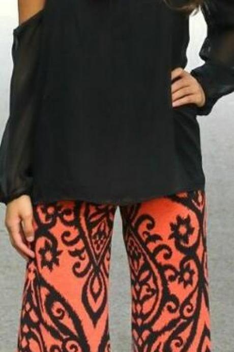 High Waist Loose Print Bellbottoms Pants